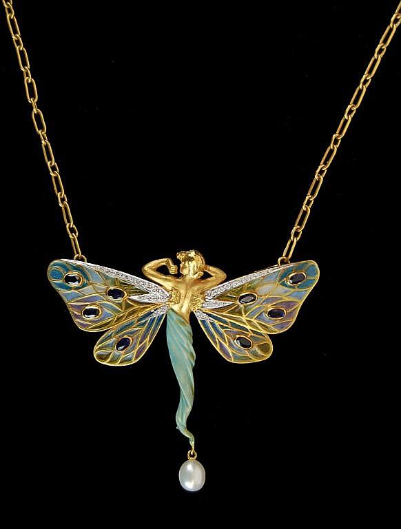 Masriera 18k Art Nouveau Fairy Nymph Pendant
