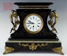 19th C. Art Nouveau Slate Mantle Clock