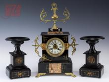 Slate & Marble Inlay Mantle Clock w/ Garnitures