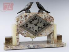Silverplate & Marble Art Deco Mantle Clock