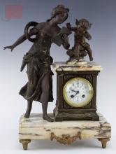 J. Pratt French Figural Spelter Mantle Clock
