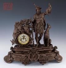 Scottish Hunting Scene Spelter Mantle Clock