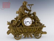 Figural Wheat Wagon Spelter Mantle Clock