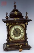 German Wooden Case Mantle Clock w/ Ormolu
