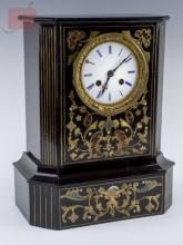 Wooden Case Clock w/ Brass Inlay