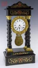 Barley Twist Pillar Wood & Brass Mantle Clock