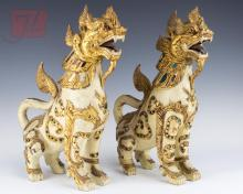 Thai Carved & Painted Temple Lion Pair