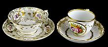 PAIR Antique Crown Derby Porcelain Teacup / Saucer