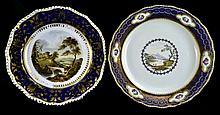 PAIR Antique Crown Derby Porcelain Cabinet Plate