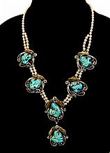 Sterling Turquoise Medallion Blossom Necklace