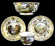 (4) Pcs. Antique Crown Derby Scenic Porcelain