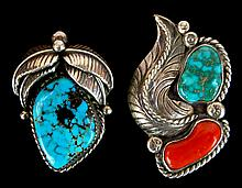 PAIR Native American Rings w/ Turquoise, Coral