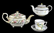 Crown Derby Antique Porcelain Tea Pots, Cup & Saucer
