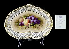 Signed Crown Derby Antique Porcelain Dish