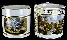 2 Large Crown Derby Porcelain Cylindrical Mugs