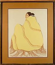 R.C. Gorman Lim. Ed Litho Lady In A Yellow Blanket