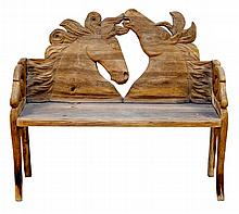 Carved Wood Horse Head Bench
