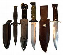 (3) Pcs. Boot, Hunting & Bowie Knife Lot w/ Sheath