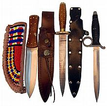 (3) Pcs. Hunting, Damascus & Fighting Knife Lot