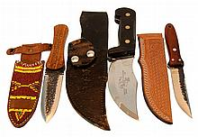 (3) Pcs. Hunting & Skinning Knife Lot w/ Sheaths