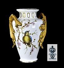 Antique Crown Derby Porcelain Vase, Bird Motif