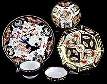 (5) Pieces Antique Crown Derby Imari Porcelain