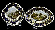 PAIR Antique Bloor Derby Porcelain Serving Bowl