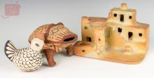 3 Pc Signed Hopi House & Animal Figure Pottery Lot