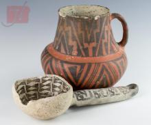 Anasazi Tularosa & Wingate Pottery Ladle & Pitcher
