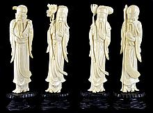 4 Vintage Asian Ivory Immortal Figures