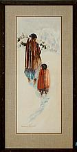 J. Lunge Watercolor Painting, Winter Figural Scene