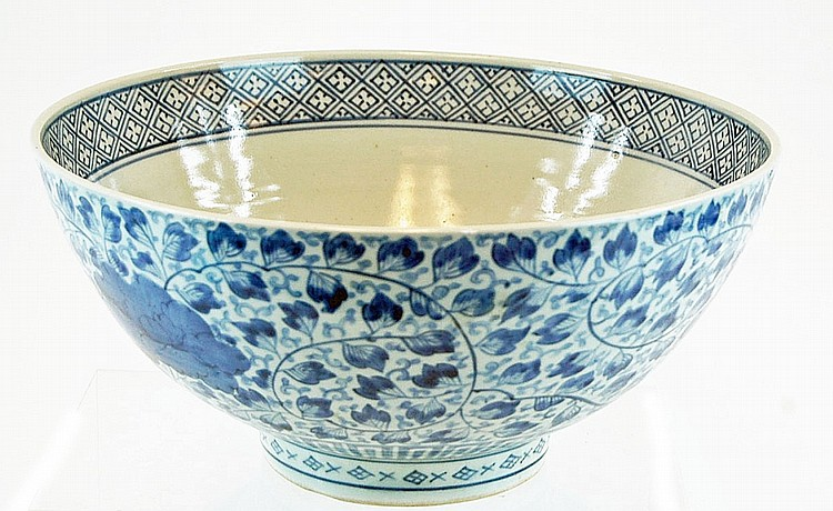 Large 20th Century Chinese Blue & White Bowl