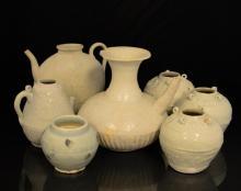 7 Pc. Asian Incised Pale Celadon Jar & Tea Pot Lot