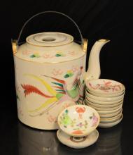 14 Pc. Asian Pottery Tea Pot & Soy Dish Lot