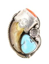 Old Pawn Silver Turquoise, Coral & Bear Claw Ring