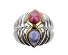 Sterling Silver/18K Gold Sapphire & Amethyst Ring