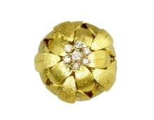 18K Yellow Gold Diamond Floral Dome Ring