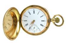 14K Gold Men's Hunters Case Pocket Watch
