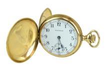 14K Gold Plate Diamond Waltham Ladies Pocket Watch