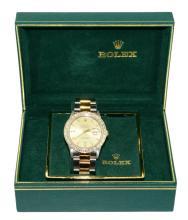 18K Gold Diamond Men's Rolex Oyster Watch