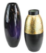 2 Pc. Signed Pottery & Art Glass Vase Lot