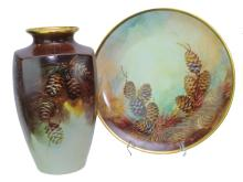 Signed Thomas Hand Painted Pinecone Vase & Charger