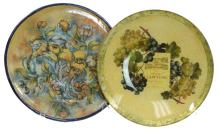 2 Pc. Signed Glass Art Bowl & Pottery Tray Lot