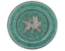 Gustavsberg Argenta Silver Griffin Pottery Dish