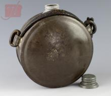 Civil War Tin Powder Flask Original Leather Strap