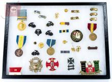 33 Pc. Military Badge, Button & Bar Display