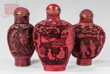 3 Pc. Signed Asian Cinnabar Snuff Bottle Lot
