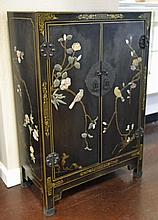 Asian Black Lacquer Inlaid Cabinet