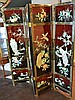 Chinese Lacquer 4 Panel Inlaid Screen