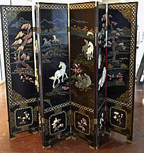 6 Panel Oriental Screen w/ Horses
